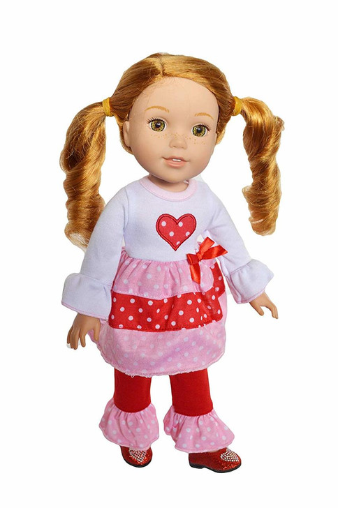 My Brittany's Valentines Day Hearts Outfit Compatible with Wellie Wisher Dolls, Hearts for Hearts Dolls and Glitter Girl Dolls- 14 Inch Doll Clothes