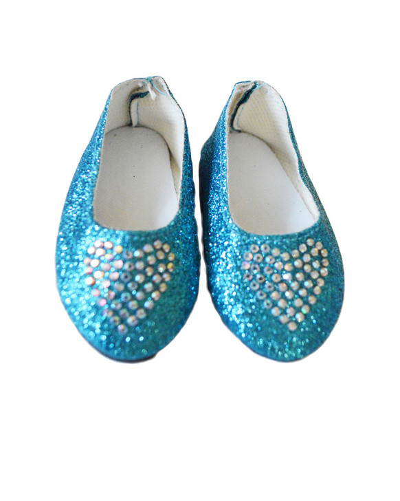 My Brittany's Blue  Heart Shoes Fits American Girl Dolls, Our Generation Dolls and My Life as Dolls