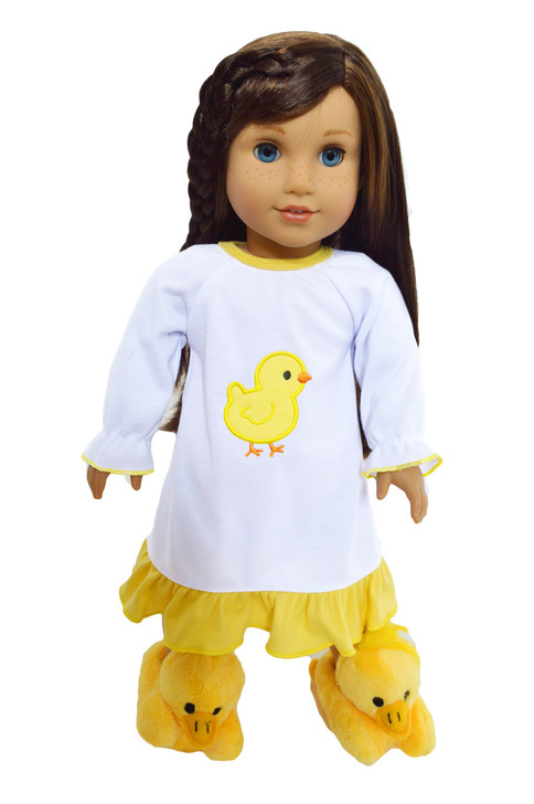My Brittany's Yellow Spring Chick Nightgown for American Girl Dolls
