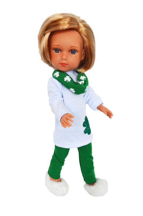 My Brittany's Irish Shamrock Outfit for Wellie Wisher Dolls, Glitter Girl Dolls and Hearts for Hearts Dolls