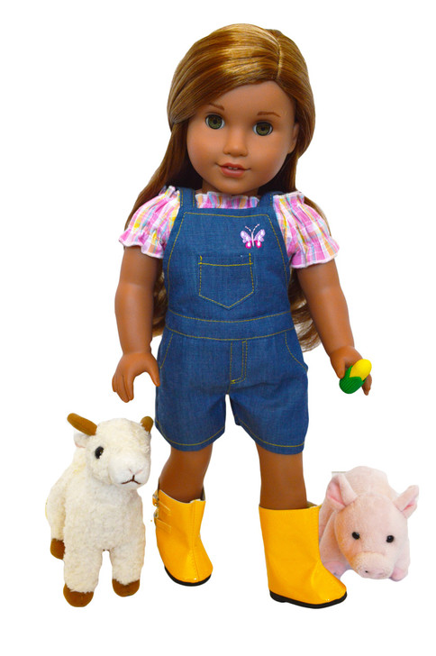 On The Farm Outfit for American Girl Dolls- Includes boots, goat and pig -Limited Time Offer