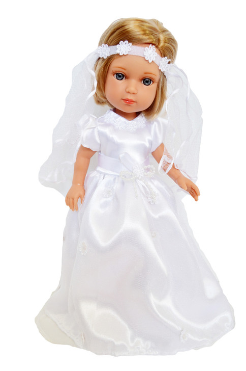 My Brittany's Communion Gown for Wellie Wisher Dolls, Glitter Girl Dolls and Hearts for Hearts Dolls