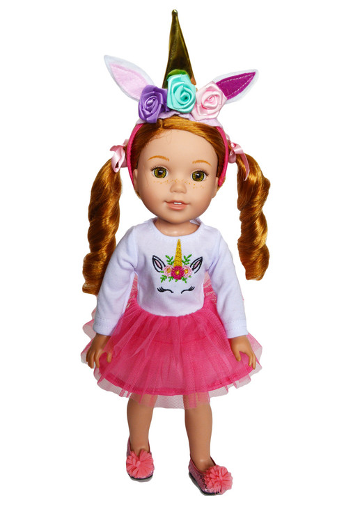 My Brittany's Pink Unicorn Outfit for Wellie Wisher Dolls, Glitter Girl Dolls and Hearts for Hearts Dolls