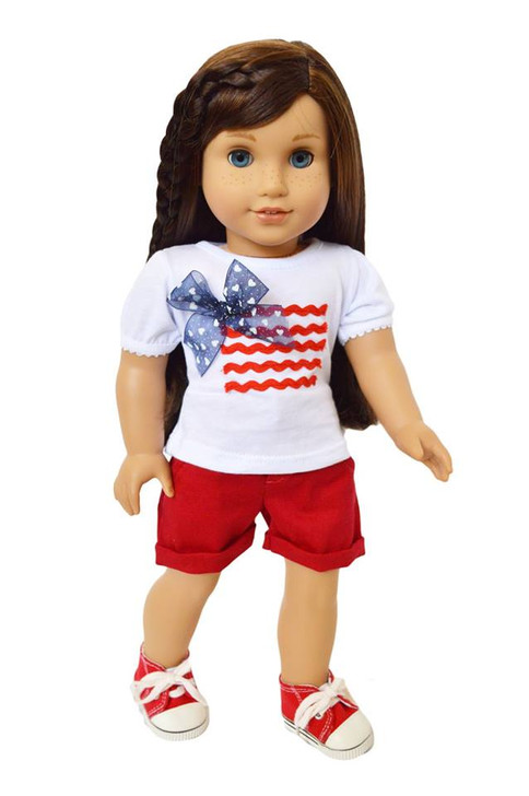"My Brittany's ""Red Patriotic Outfit"" for American Girl Dolls, My Life as Dolls and Our Generation Dolls - 18 Inch Doll Clothes"