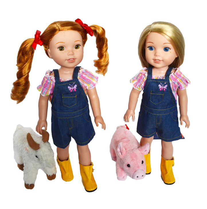 On the Farm Outfit for Wellie Wisher Dolls, Glitter Girl Dolls and Hearts for Hearts Dolls