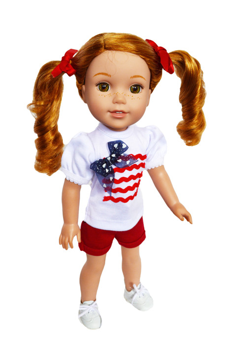"""My Brittany's """"Red Patriotic Outfit"""" For Wellie Wisher Dolls, Glitter Girl Dolls and Hearts for Hearts Dolls - 14 Inch Doll Clothes"""