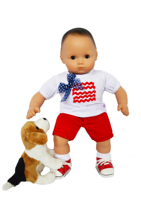 My Brittany's 6 Pc.  Red Patriotic Set for Bitty Baby Dolls with Beagle