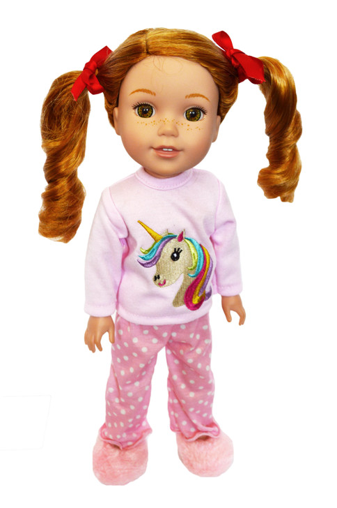My Brittany's Unicorn Pjs for Wellie Wisher Dolls, Glitter Girl Dolls and Hearts for Hearts Dolls-14 Inch Doll Clothes