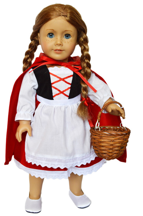 Velvet Little Red Riding Hood Outfit Compatible with American Girl Dolls 18 Inch Doll Clothes