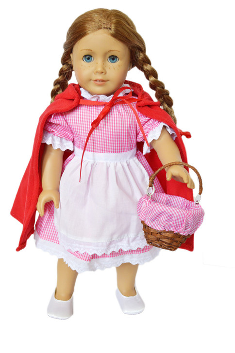 Gingham Little Red Riding Hood Outfit Compatible with American Girl Dolls 18 Inch Doll Clothes