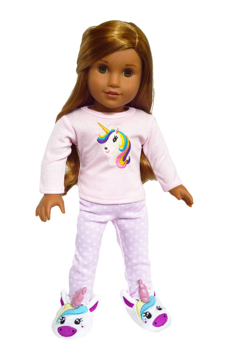 Unicorn Dreaming  Pjs with Unicorn Slippers for American Girl Dolls, Our Generation Dolls and My Life as Dolls