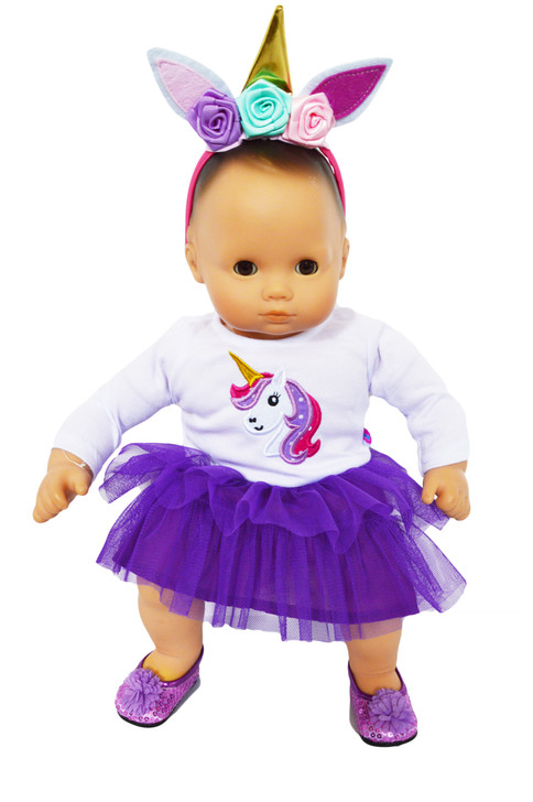 Purple Unicorn Outfit for Bitty Baby Dolls