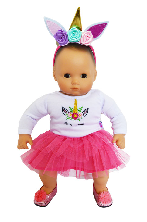Pink Unicorn Outfit for Bitty Baby Dolls