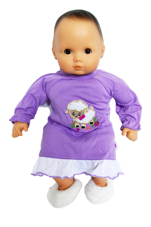 Fuzzy Lamb Nightgown for Bitty Baby Dolls