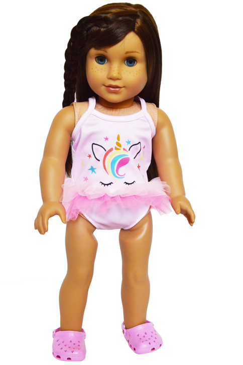 Cotton Candy Unicorn Swimsuit for American Girl Dolls, Our Generation Dolls and My Life as Dolls