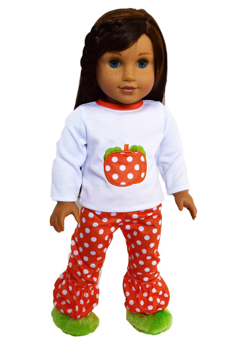 Dotted Pumpkin  Outfit for American Girl Dolls, Our Generation Dolls and My Life as Dolls