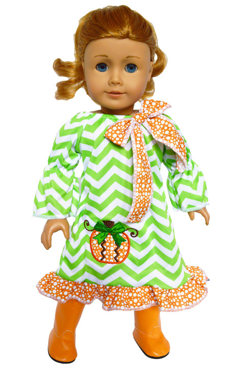 Pumpkin Picasso Dress for American Girl Dolls, Our Generation Dolls and My Life as Dolls-18 Inch Doll Clothes