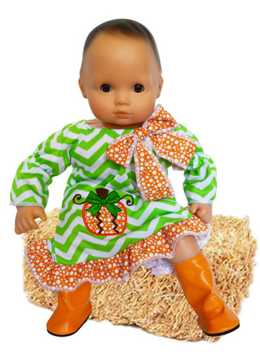 Pumpkin Picasso Dress for Bitty Baby Dolls
