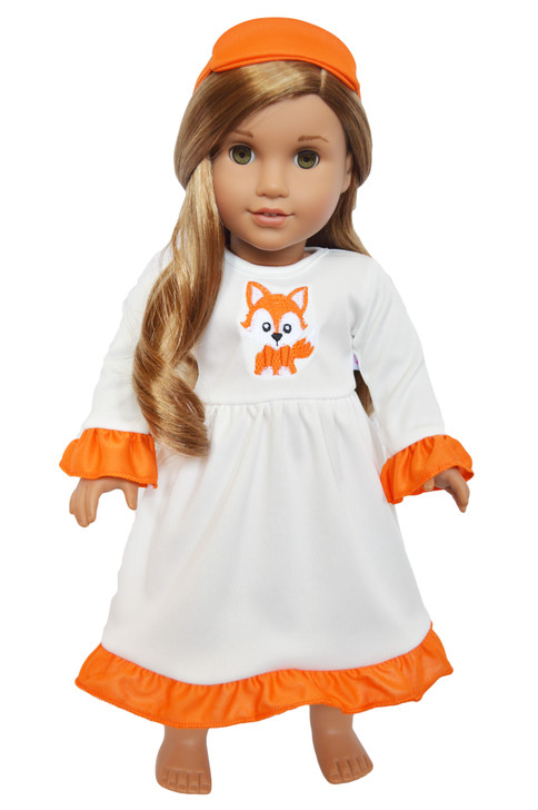 Autumn Fox Nightgown and Sleep Mask for American Girl Dolls