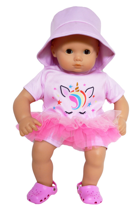 Cotton Candy Unicorn Swimsuit for Bitty Baby Dolls- 15 Inch Baby Doll Clothes