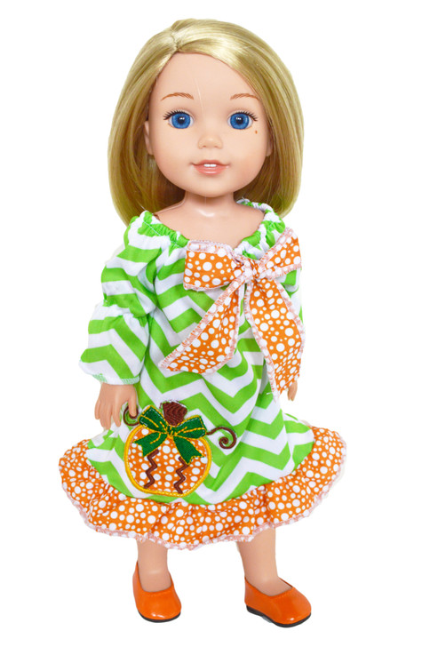 Pumpkin Picasso Dress for Wellie Wisher 's Dolls, Glitter Girl Dolls and Hearts for Hearts Dolls