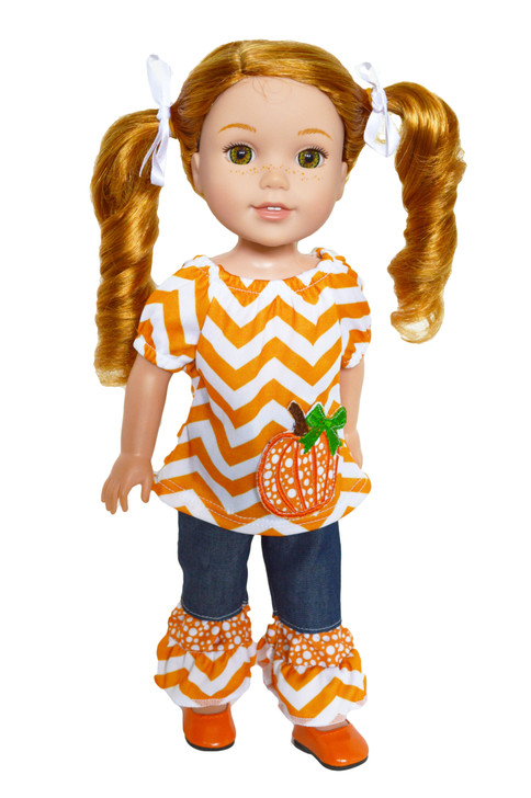 Cozy Autumn Outfit for Wellie Wisher Dolls, Glitter Girl Dolls and Hearts for Hearts Dolls- 14 Inch Doll Clothes
