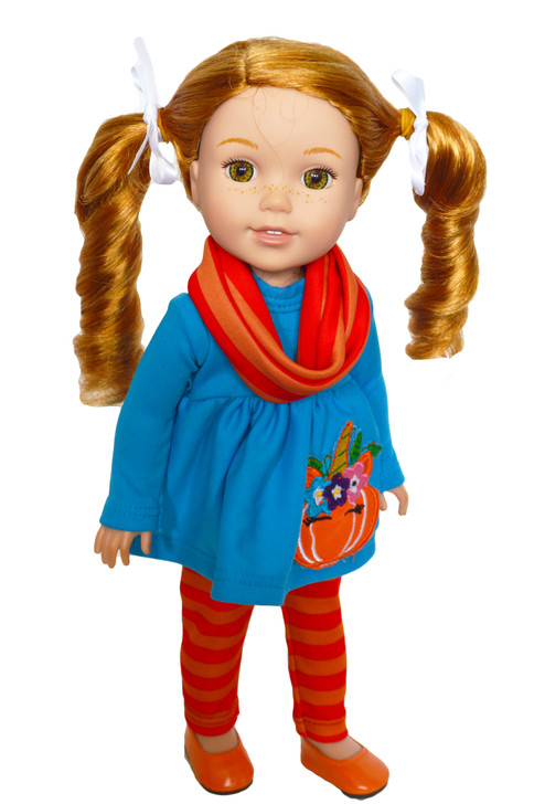 Unicorn Pumpkin Outfit for Wellie Wisher Dolls, Glitter Girl Dolls, and Hearts for Hearts Dolls- 14 Inch Doll Clothes