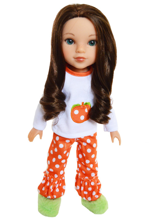 My Brittany's Dotted Pumpkin Outfit for Wellie Wisher Dolls, Hearts For Hearts Dolls and Glitter Girl Dolls