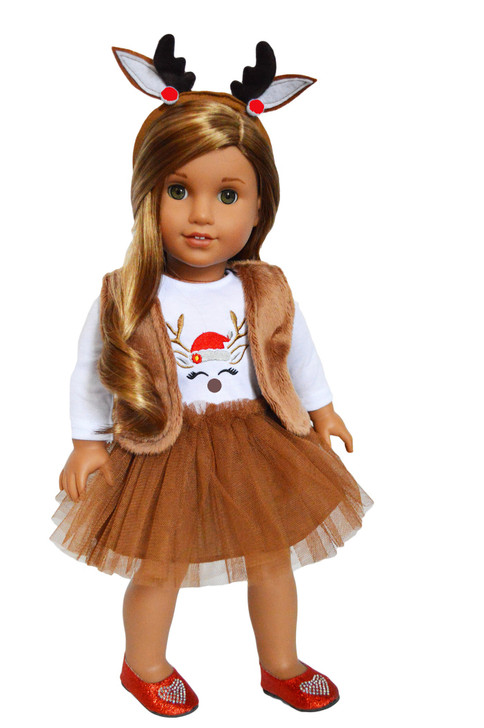 My Brittany's Holiday Reindeer Dress with Headband for American Girl Dolls-18 Inch Doll Clothes