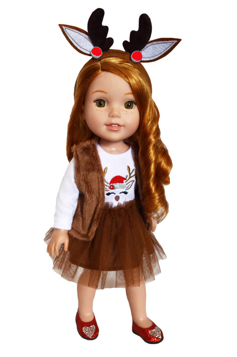 My Brittany's Holiday Reindeer Dress for Wellie Wisher Dolls- 14 Inch Doll Clothes
