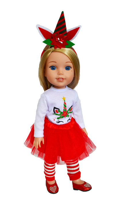 My Brittany's Christmas Unicorn Outfit for Wellie Wisher Dolls- 14 Inch Doll Clothes