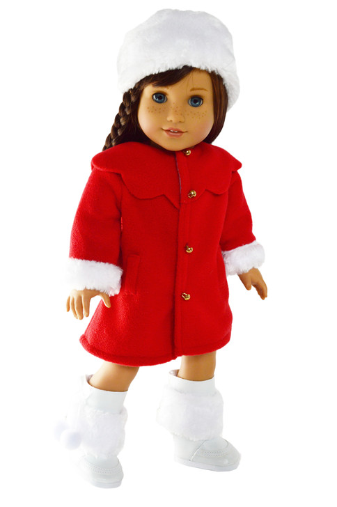 Red Winter Coat for American Girl Dolls, Our Generation Dolls and My Life as Dolls- 18 Inch Doll Clothes