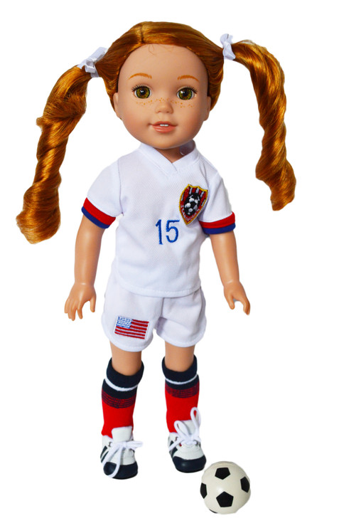 My Brittany's Soccer Outfit for Wellie Wisher Dolls and Glitter Girl Dolls- 14 Inch Doll Clothes