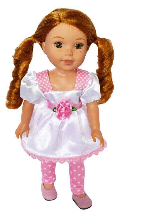Pink Hearts and Roses Valentines Day  Outfit for Wellie Wisher Dolls