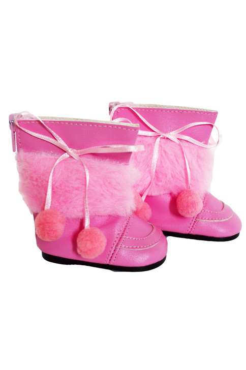 Pink Pom Pom Boots for American Girl Dolls- 18 Inch Doll Boots