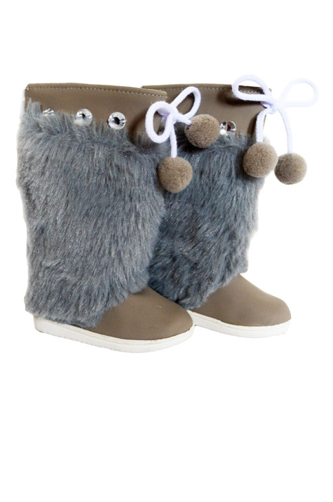 Grey Winter Fur Boots for American Girl Dolls- 18 Inch Doll Boots