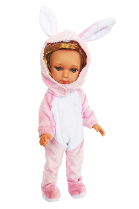 Pink Bunny Costume for Wellie Wisher Dolls, Glitter Girl Dolls and Hearts for Hearts Dolls