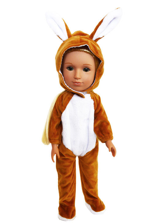 Brown Bunny Costume Fits 14 Inch Dolls