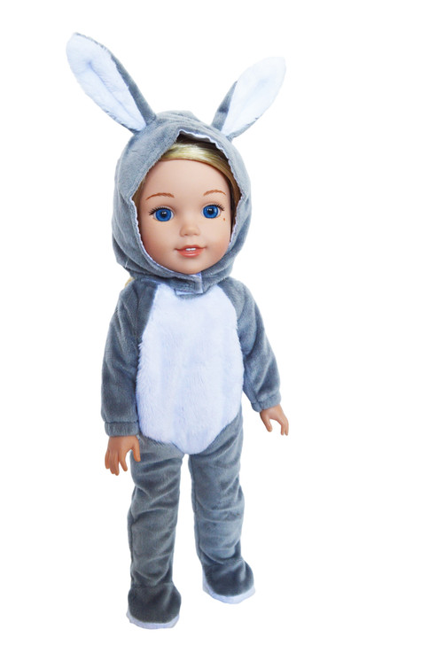 Grey Bunny Costume for Wellie Wisher Dolls, Glitter Girl Dolls and Hearts for Hearts Dolls