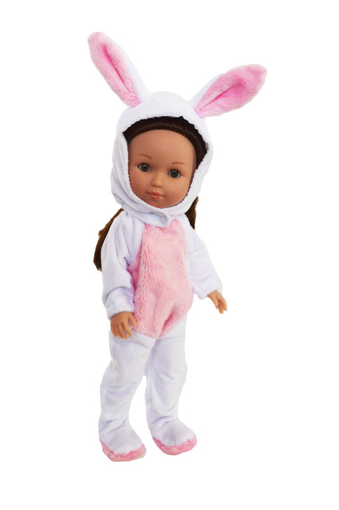 White Bunny Costume for Wellie Wisher Dolls,Glitter Girl Dolls and Hearts for Hearts Dolls