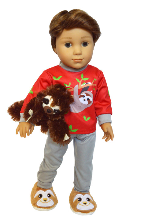 Sloth Pjs with Slippers for 18 Inch American Girl Dolls