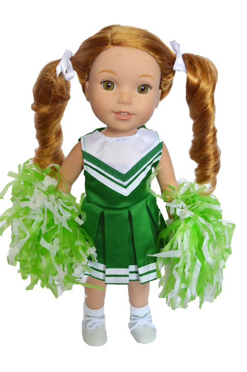 Green Cheerleader Outfit for Wellie Wisher Dolls, Glitter Girl Dolls and Heart for Hearts Dolls