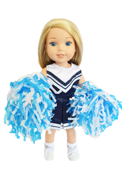 Blue and White Cheerleader Outfit for Wellie Wisher Dolls