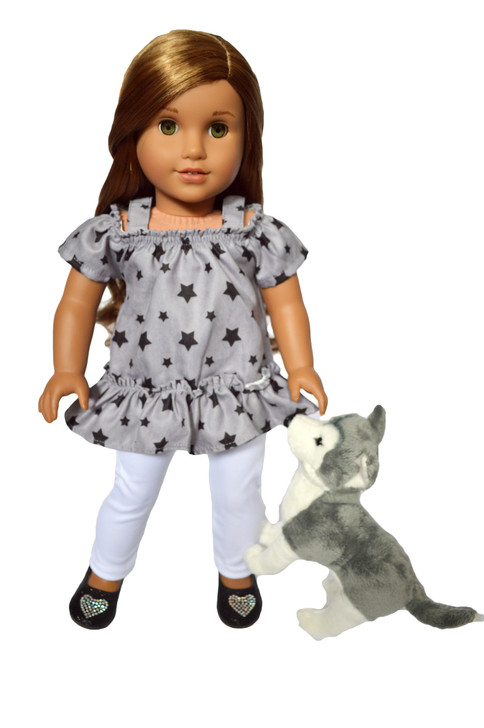 Modern Stars Outfit  with Mini Husky Fits American Girl Dolls