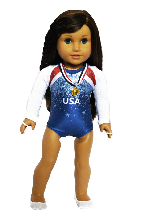 USA Gymnastics  Leotard fits American Girl Dolls Complete with Accessories