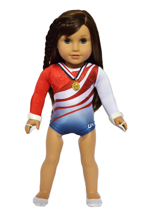 Red, White and Blue Gymnastics fits American Girl Dolls Complete with Accessories