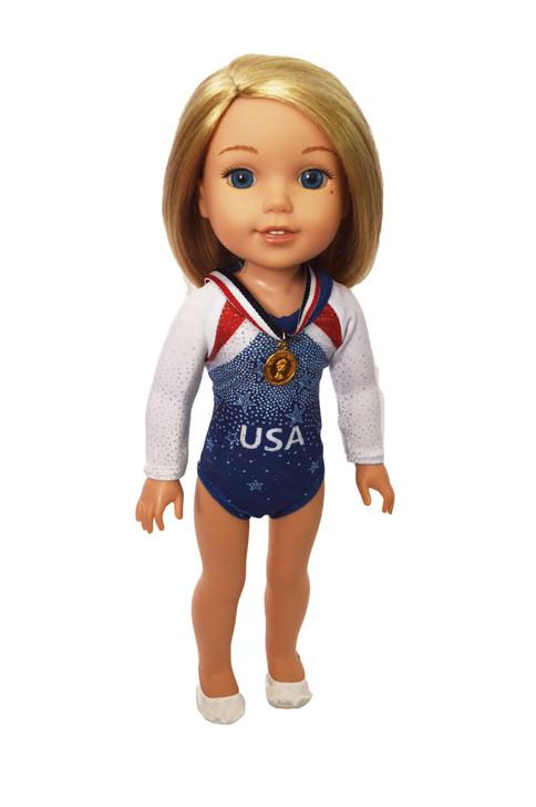 USA gymnastics fits 14 inch dolls