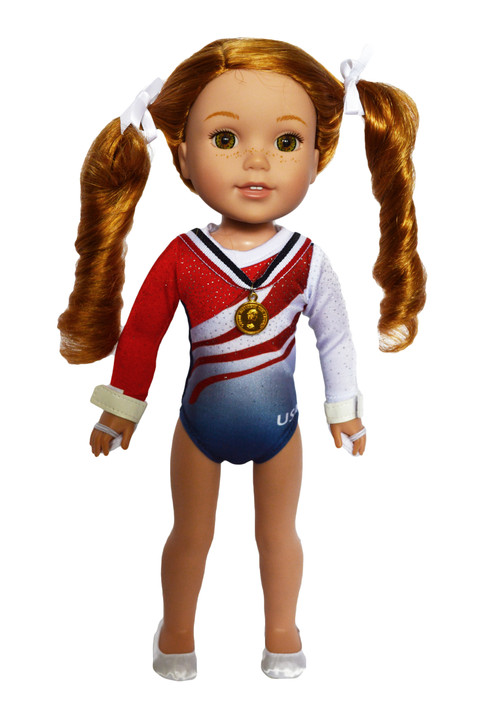 Red, White And Blue Gymnastics fits 14 inch dolls.