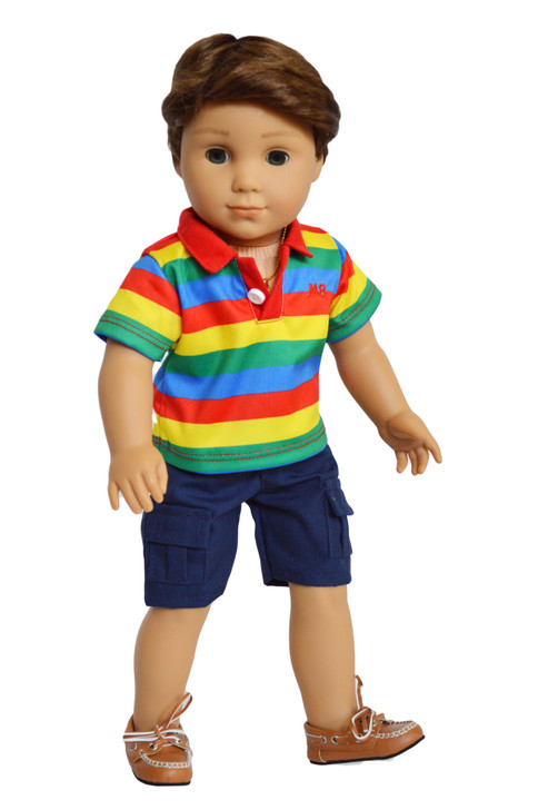 My Brittany's Multi-Color Polo Shirt and Shorts Fits 18 Inch Dolls