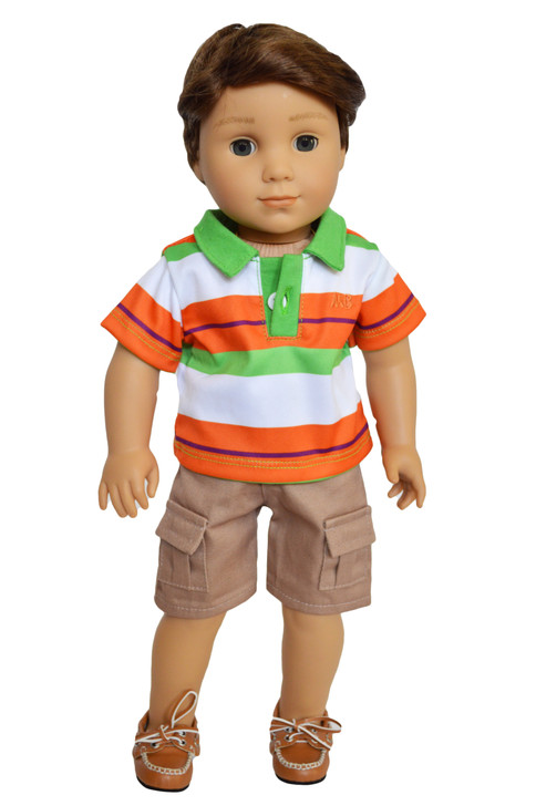 My Brittany's Green and Orange Polo Outfit fits American Girl Dolls